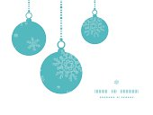 Christmas ornaments frame blue snowflakes textile seamless pattern background