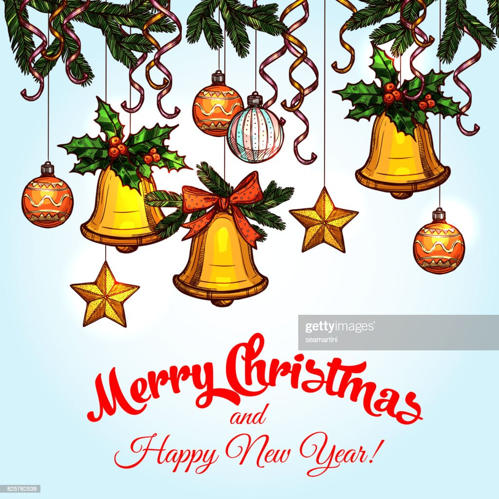 Christmas Ornaments On Xmas Tree Sketch Poster Stock Illustration