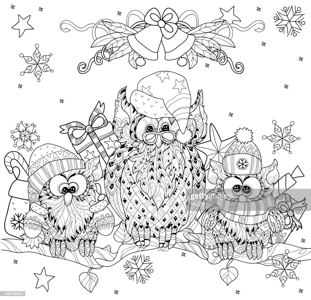 Christmas Owl  on tree branch with small owls.