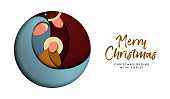 Christmas paper cut card for christian celebration