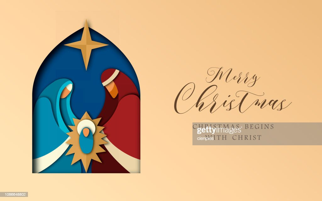 Christmas paper cut card of jesus and holy family