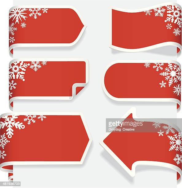 weihnachtspapier ribbon banner-label-tags - turn the corner stock-grafiken, -clipart, -cartoons und -symbole