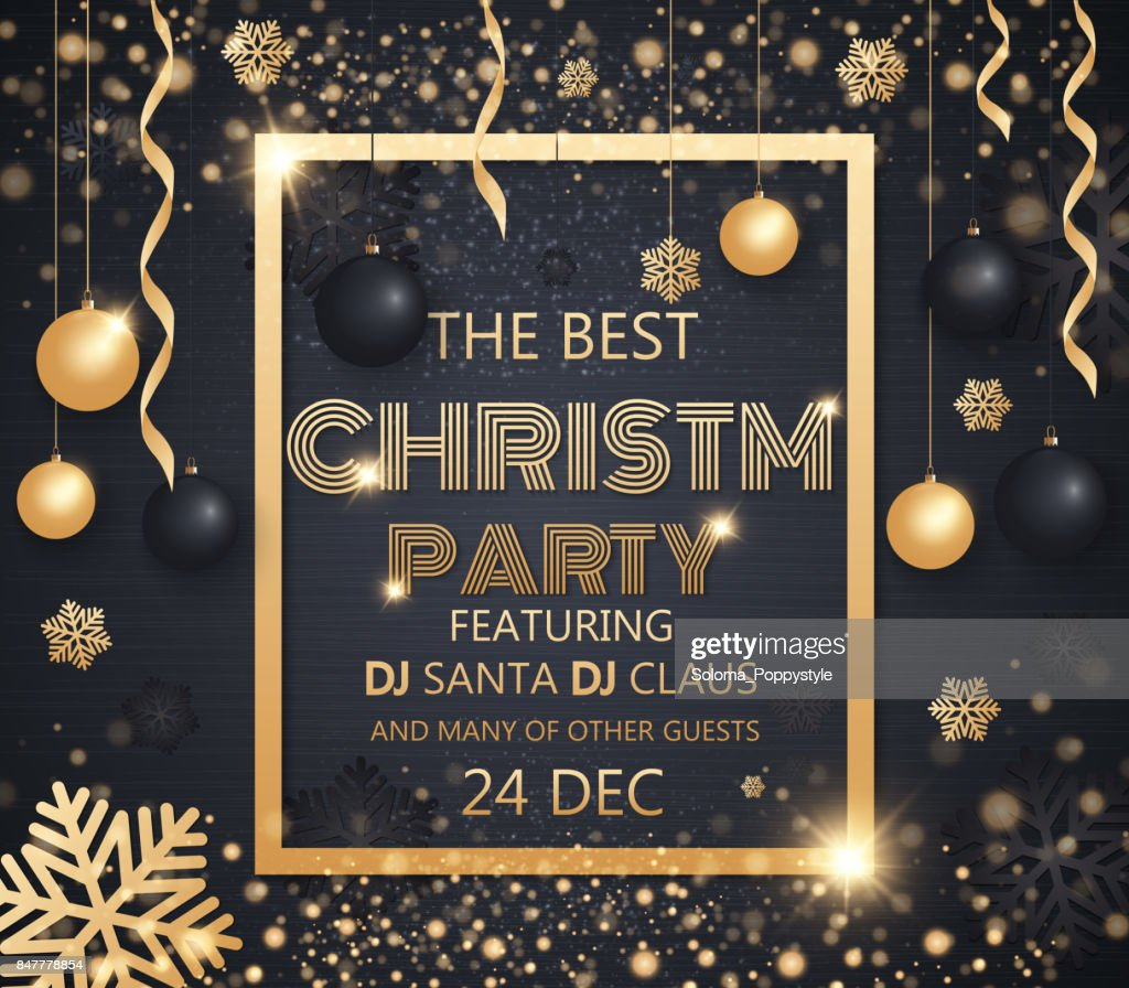 Christmas Invitation Background Gold.Christmas Party Design Template Invitation To A Party