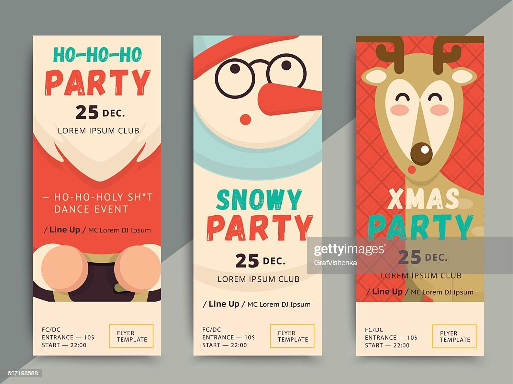 Christmas party flyer template design. Xmas poster in funny cart