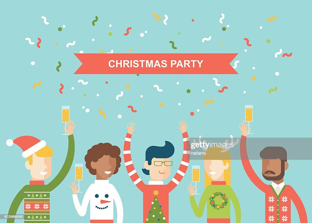 Christmas party happy people celebrating flat vector illustration