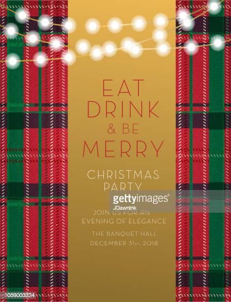 christmas party invitation design template - tartan stock illustrations