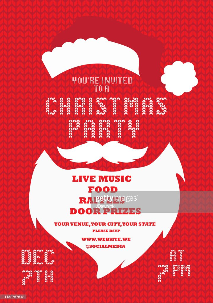 Christmas Party Invitation Design Template With Santa Claus Beard