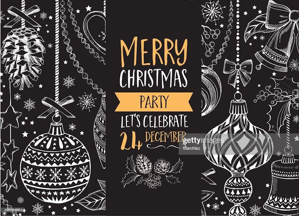 Christmas party invitation. Holiday card.