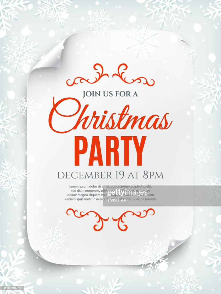 Christmas party invitation poster on winter background.