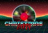Christmas party invitation poster or flyer with 80s neon style and vinyl lp for dj