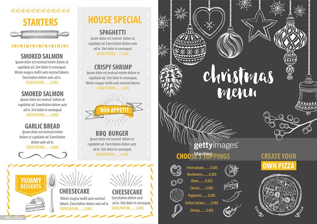 Christmas party invitation restaurant. Food flyer.
