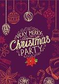 Christmas party invitation restaurant. Food menu.