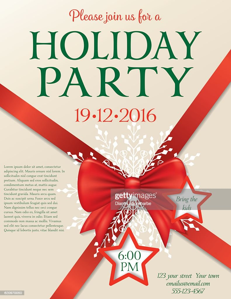 christmas party invitation template with bow and snowflakes and