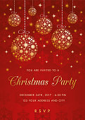 Christmas party invitation with golden balls.