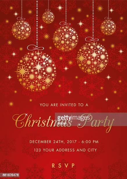 christmas party invitation with golden balls. - christmas ornament stock illustrations