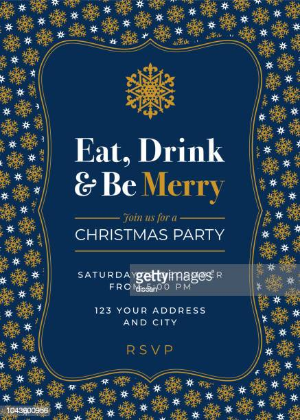 christmas party invitation with snowflake pattern - flyer leaflet stock illustrations