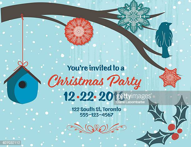 Christmas Party Invitation with snowflakes, birdhouse,bird,  and branch