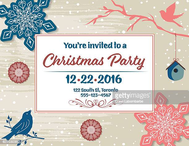 Christmas Party Invitation with snowflakes, birdhouse,birds,  and branches