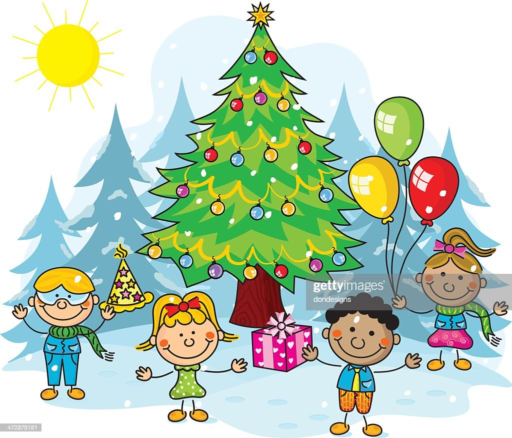 Christmas Party Kids Vector Art | Getty Images