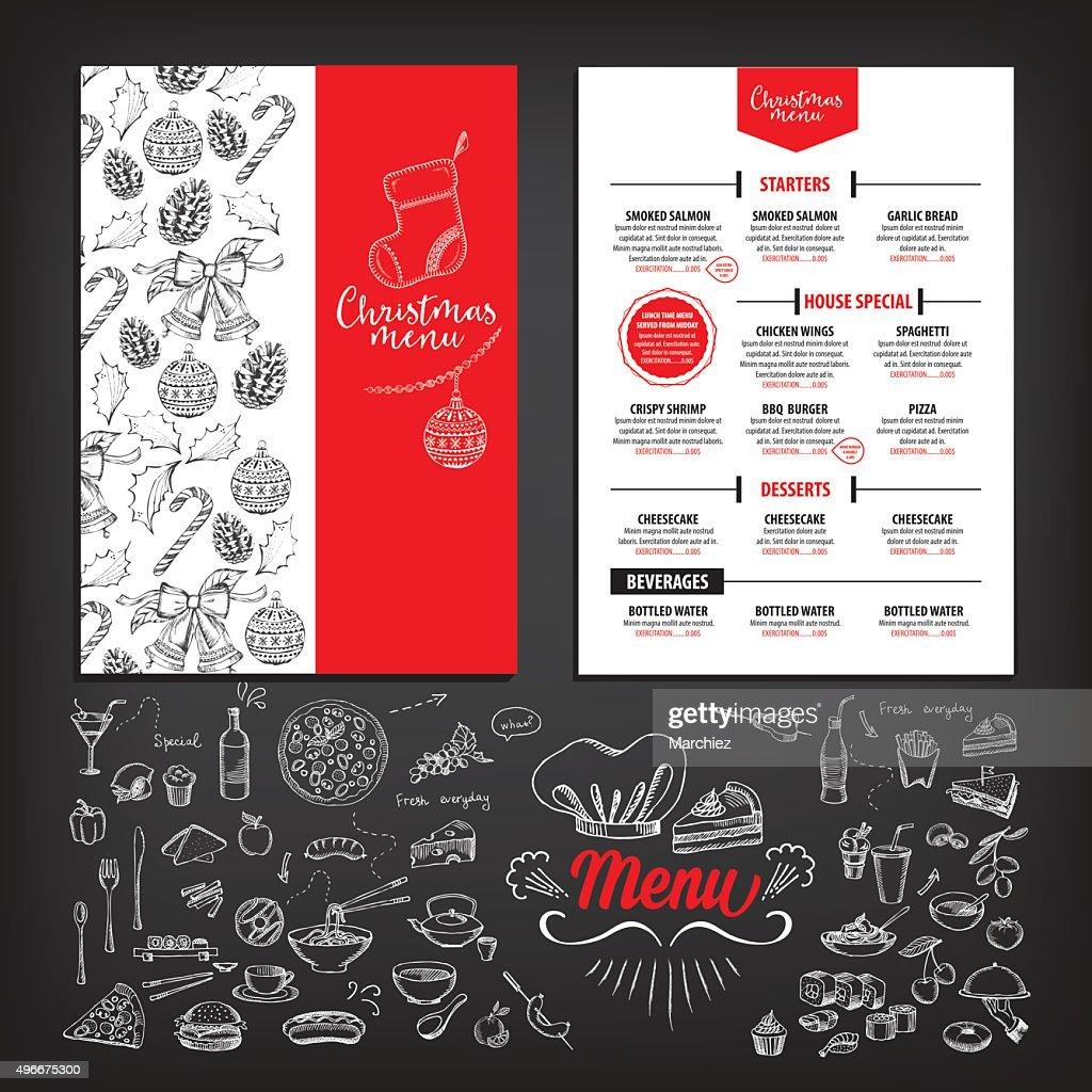 Christmas party menu restaurant. Food flyer.