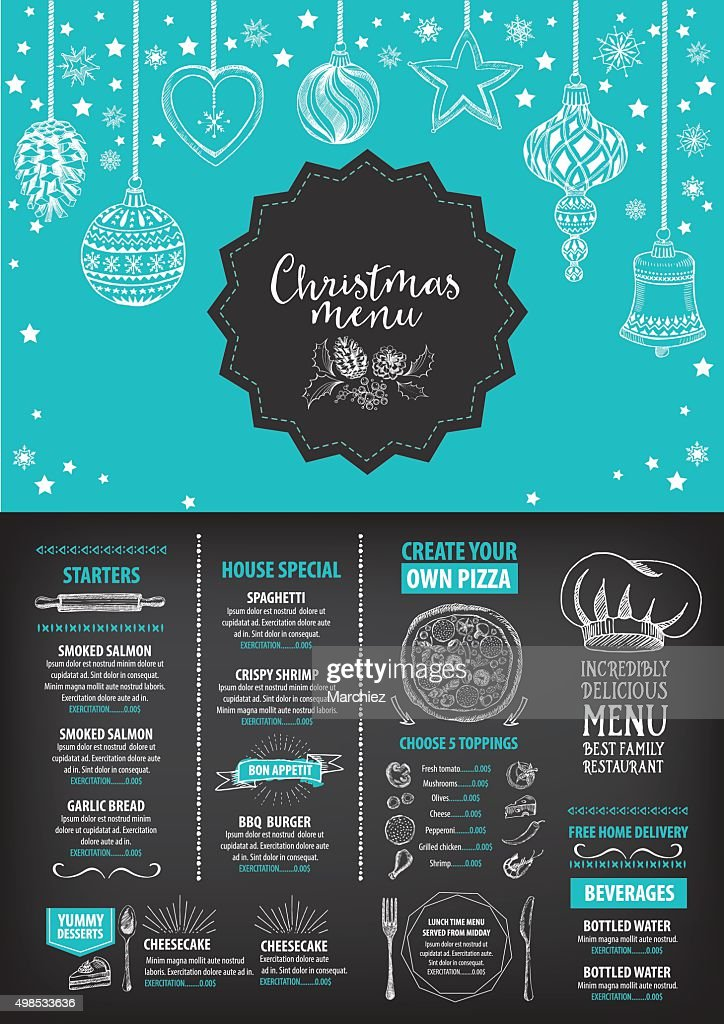 Christmas party menu restaurant. Food flyer.