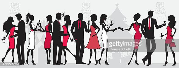 christmas party people - flirting stock illustrations, clip art, cartoons, & icons