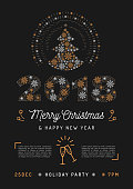 Christmas party poster and New Year 2018 card. Christmas tree and number 2018 made of snowflakes. Holiday Party Printable Invitation, Vector line art illustration