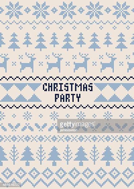 christmas party poster - handmade seamless pattern - ugly christmas sweater party stock illustrations