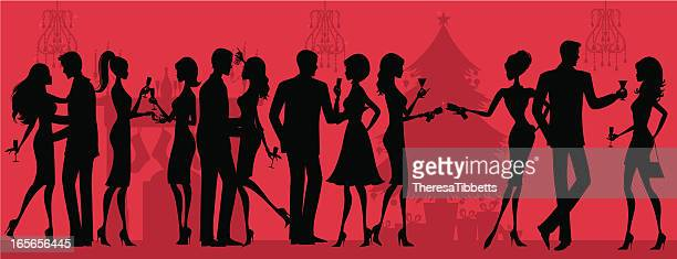 christmas party silhouette - party social event stock illustrations, clip art, cartoons, & icons