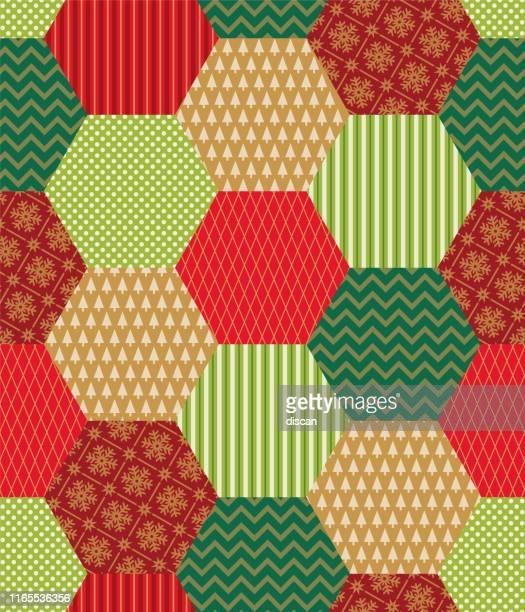 ilustraciones, imágenes clip art, dibujos animados e iconos de stock de parche navideño con símbolos de invierno. patrón sin costuras. - patchwork