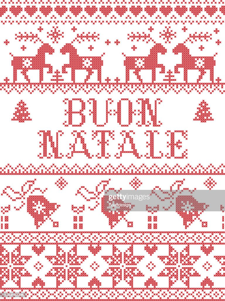 Christmas pattern Italian Merry Christmas Buon Natale vector seamless pattern inspired by Nordic culture festive winter in cross stitch with heart, snowflake, snow ,Christmas tree,  reindeer, present, ornaments