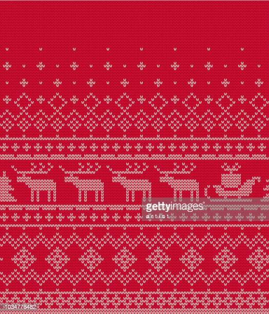 christmas pattern - knitted stock illustrations