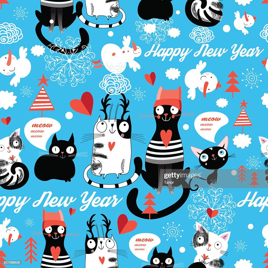 Christmas pattern with cheerful cats