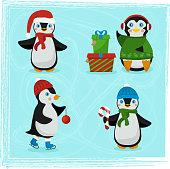 Christmas penguin characters - Set of winter cartoon vector illustrations