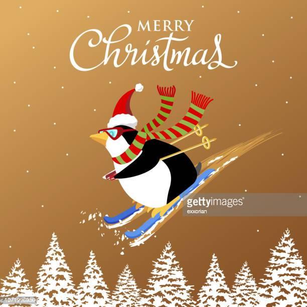 christmas penguin snow skiing - ski goggles stock illustrations, clip art, cartoons, & icons