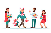 christmas people with gift