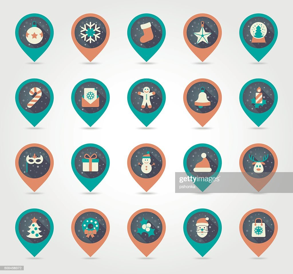 Christmas pin map icon. Holiday objects collection