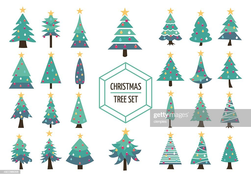 Christmas pine tree set icon holiday decoration