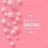 Christmas pink baubles with geometric pattern. 3d realistic style with white frame, abstract holiday background, vector illustration.
