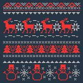 Christmas Pixel Background for Traditional Scandinavian Sweater