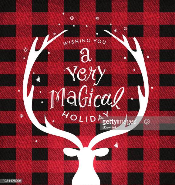 christmas plaid background with deer head and antlers greeting design with hand drawn text - antler stock illustrations
