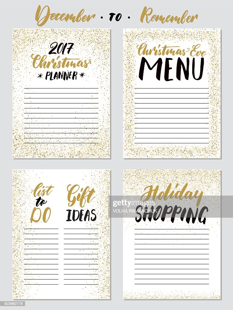 Christmas planner templates set.