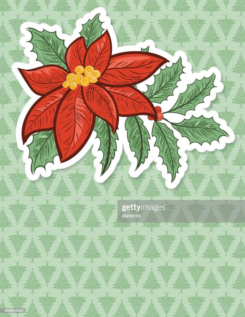 Weihnachten Weihnachtsstern Hintergrund mit Weihnachtsbaum Muster : Stock-Illustration