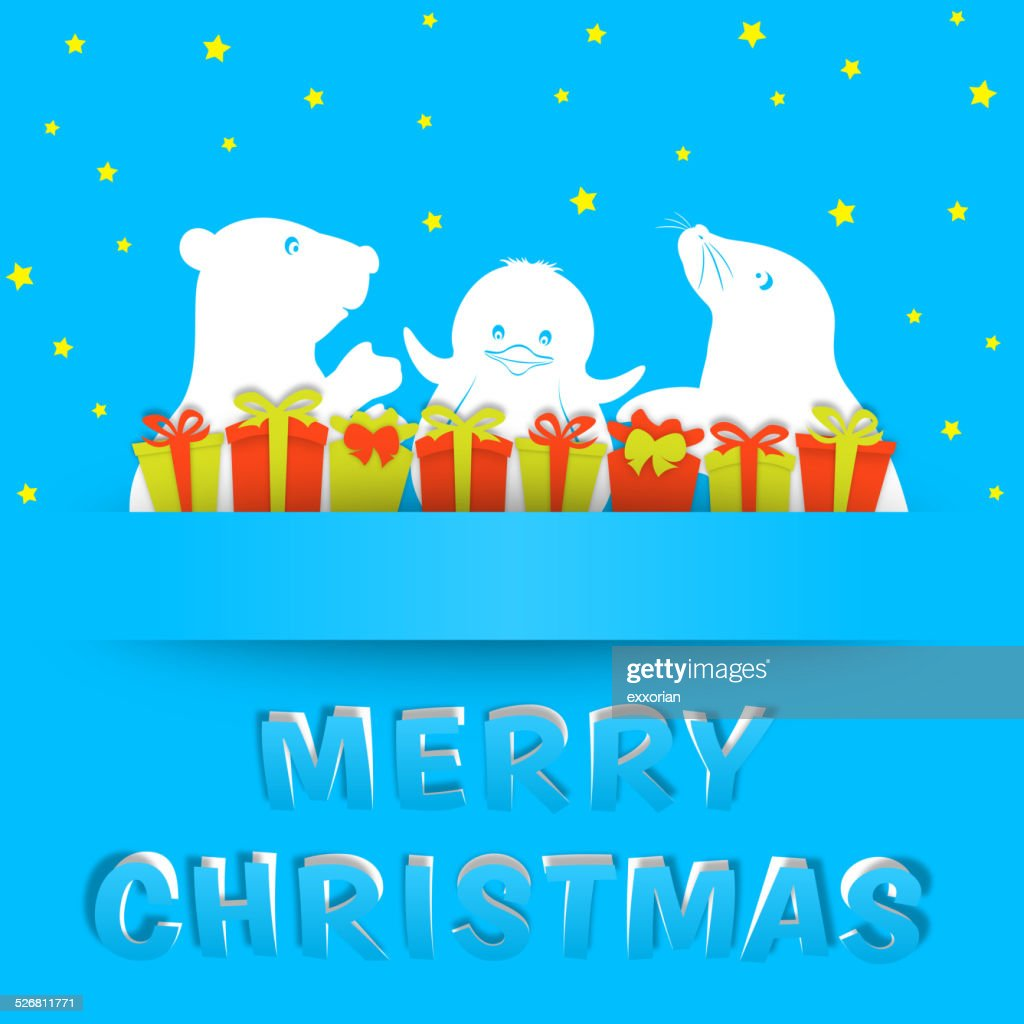 Christmas Polar Animals Paper-cut Art