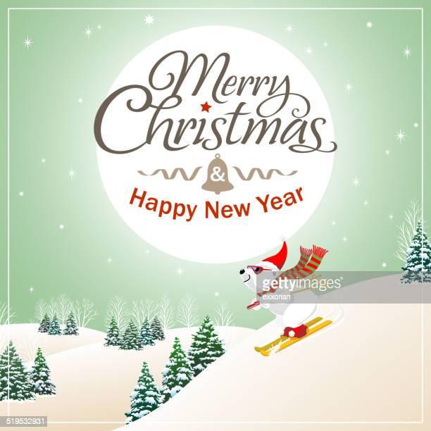 christmas polar bear background - ski slope stock illustrations, clip art, cartoons, & icons