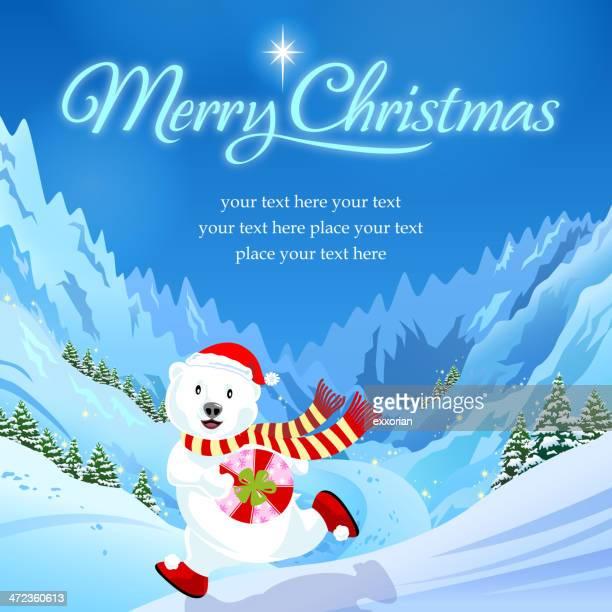 クリスマスポーラーベアマウンテンでバイポーラ - 内陸部の岩柱点のイラスト素材/クリップアート素材/マンガ素材/アイコン素材