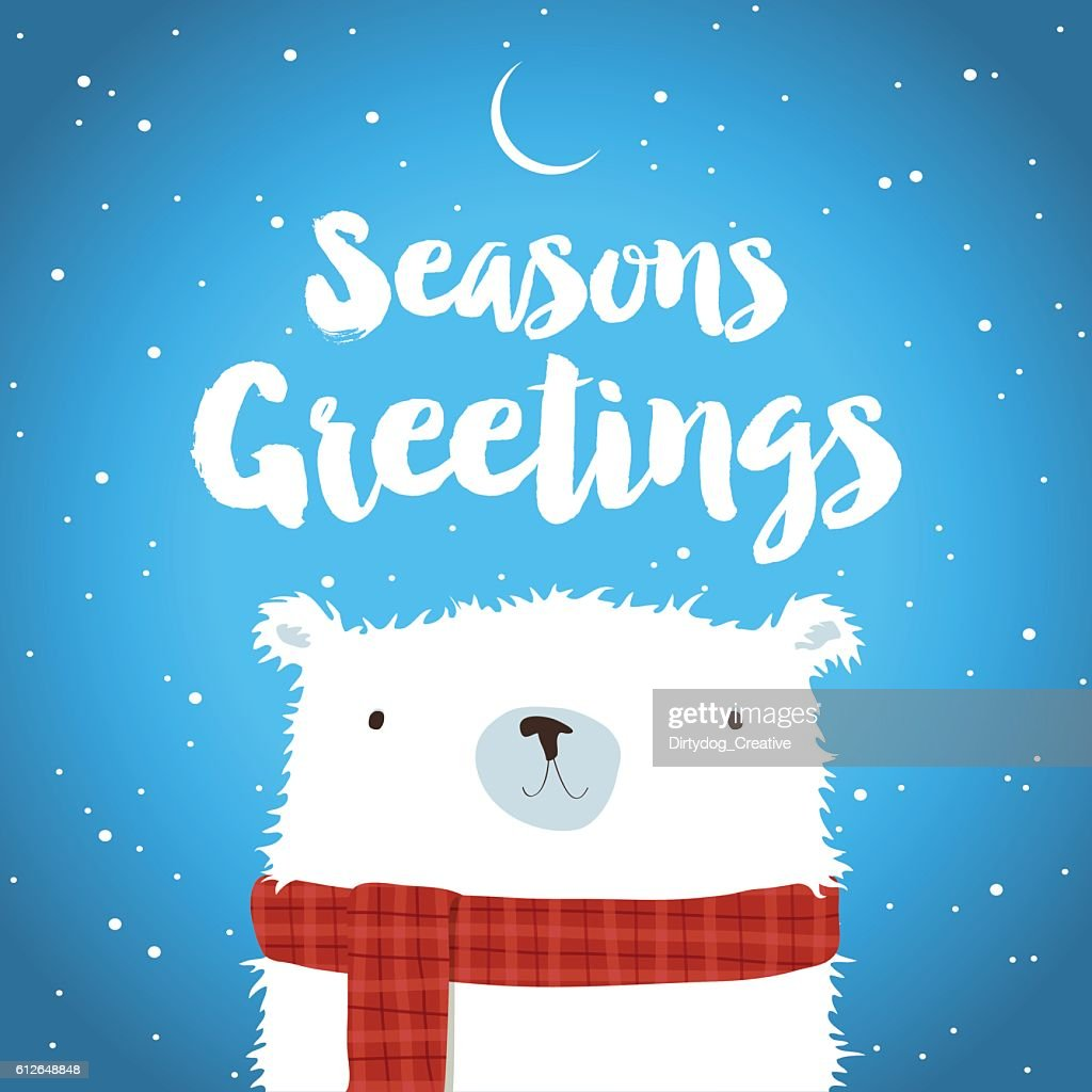 Christmas Polar Bear in the snow Seasons Greetings