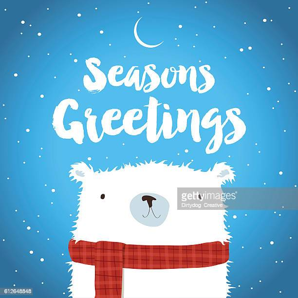 christmas polar bear in the snow seasons greetings - cute stock illustrations