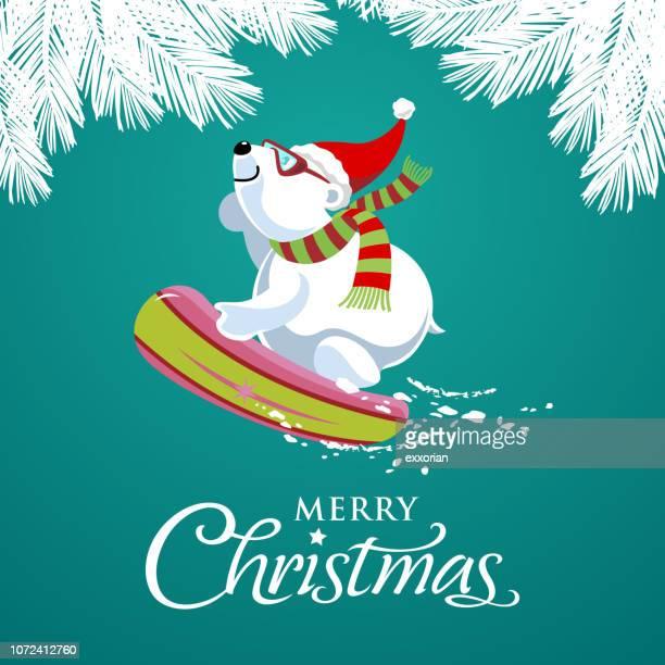 weihnachten-eisbär snowboard - tannenzweig stock-grafiken, -clipart, -cartoons und -symbole
