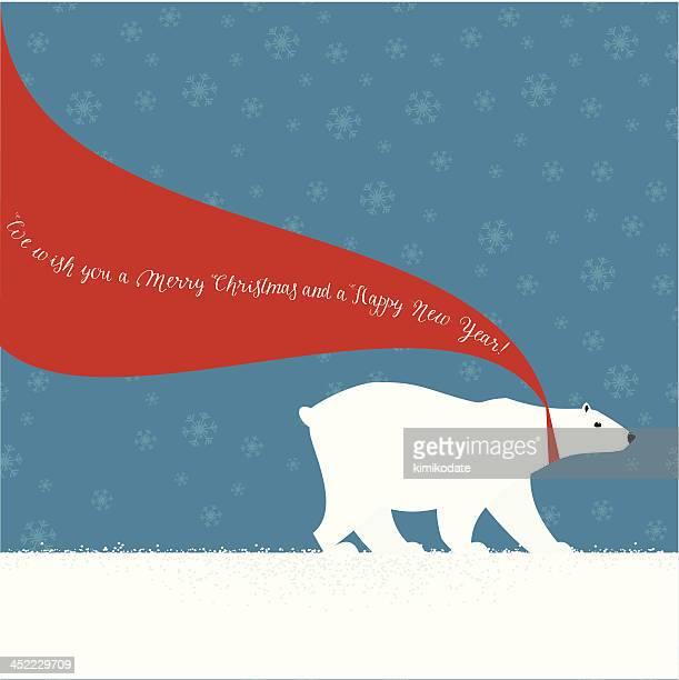 illustrations, cliparts, dessins animés et icônes de noël ours polaire avec une écharpe rouge - ours polaire